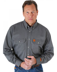 Wrangler Riggs Workwear Flame Resistant Long Sleeve Shirt, Grey, hi-res