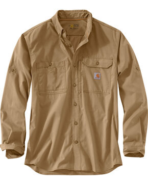Carhartt Men's Khaki Force Ridgefield Solid Long-Sleeve Shirt, Khaki, hi-res
