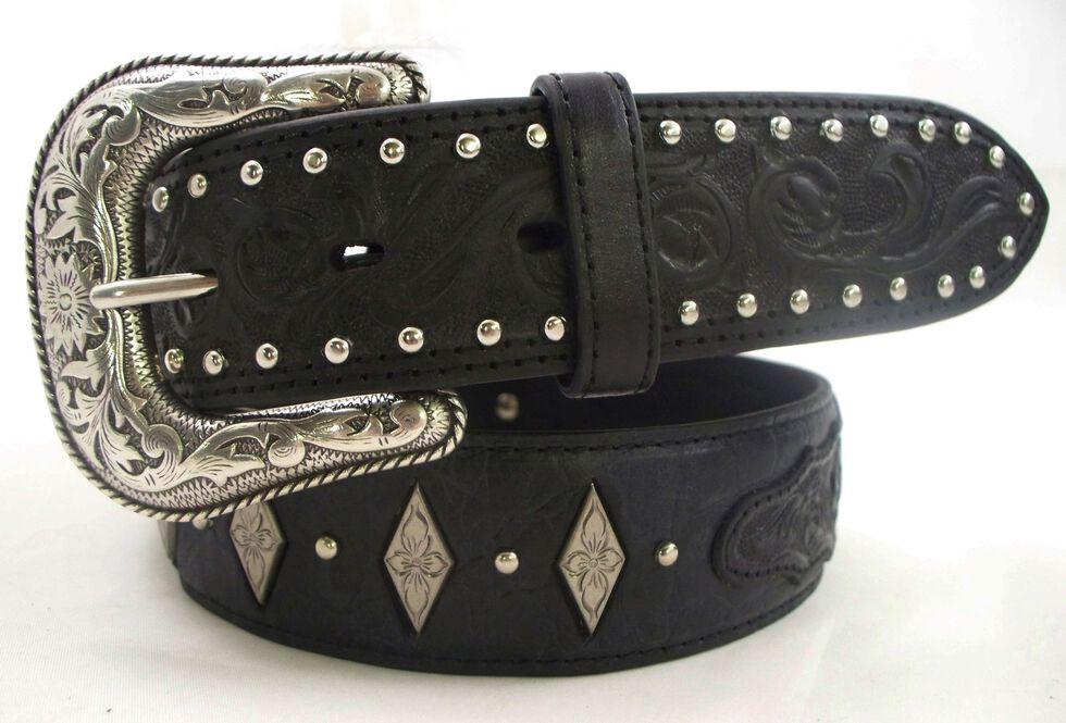 Roper Fancy Concho Tooled Billets Black Leather Belt, Black, hi-res