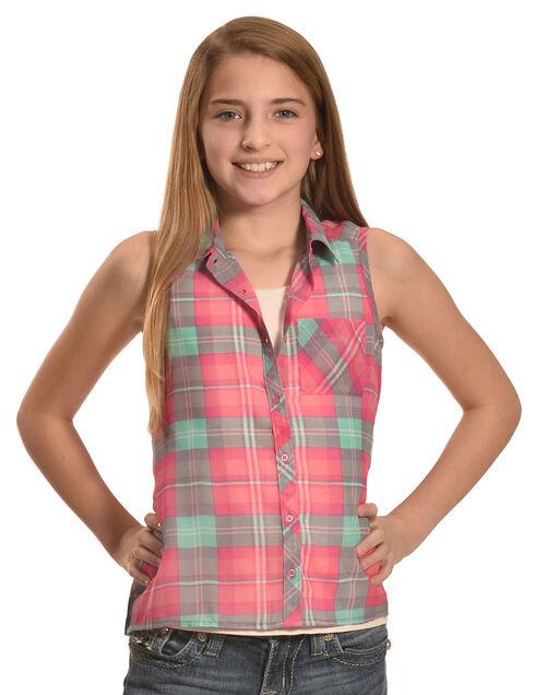 Derek Heart Girls' Purple Sleeveless Hi Lo Button Down Shirt, Purple, hi-res
