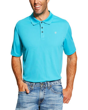 Ariat Men's Turquoise Heat Series Tek Polo Shirt , Turquoise, hi-res