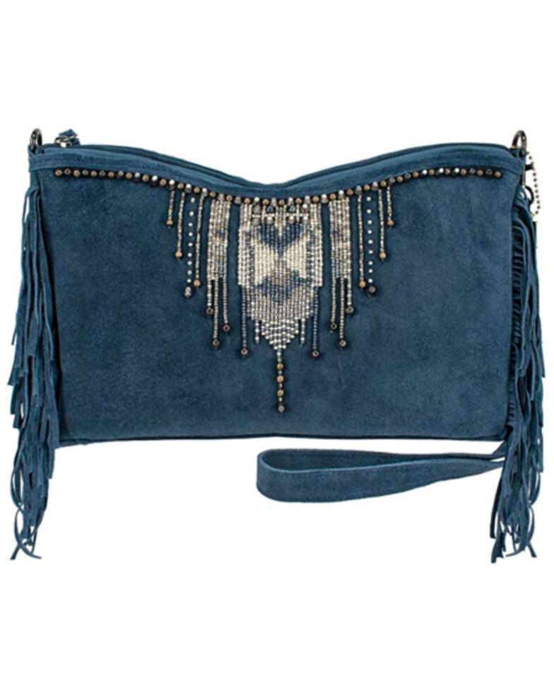 Mary Frances Women's Fringe Embroidered Handbag, Blue, hi-res