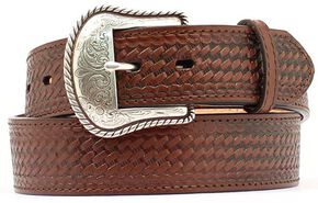 Double S Basketweave Embossed Leather Belt, Brown, hi-res
