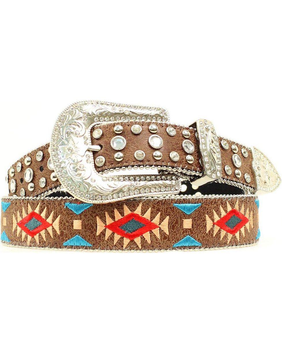 Blazin Roxx Southwest Stitch Diamond Belt, Brown, hi-res