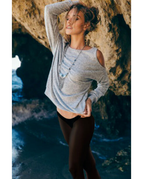 Sadie & Sage Women's Grey Cold Shoulder Marina Shirt , Grey, hi-res