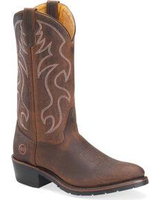 """Double-H Men's 12"""" Western Work Boots - Steel Toe, Brown, hi-res"""