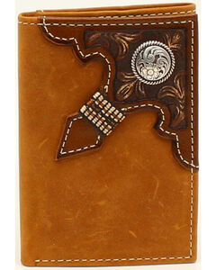 Ariat Men's Tri-Fold Embossed Overlay Ribbon Round Concho Wallet, Med Brown, hi-res