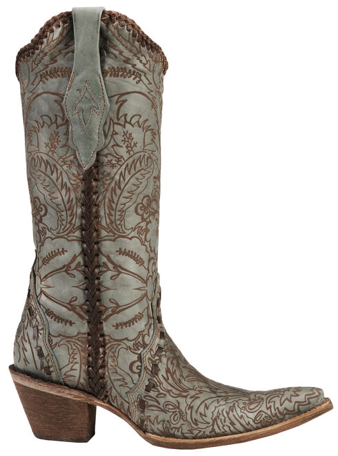 Corral Hand Tooled Turquoise Distressed Cowgirl Boots - Pointed Toe, Turquoise, hi-res