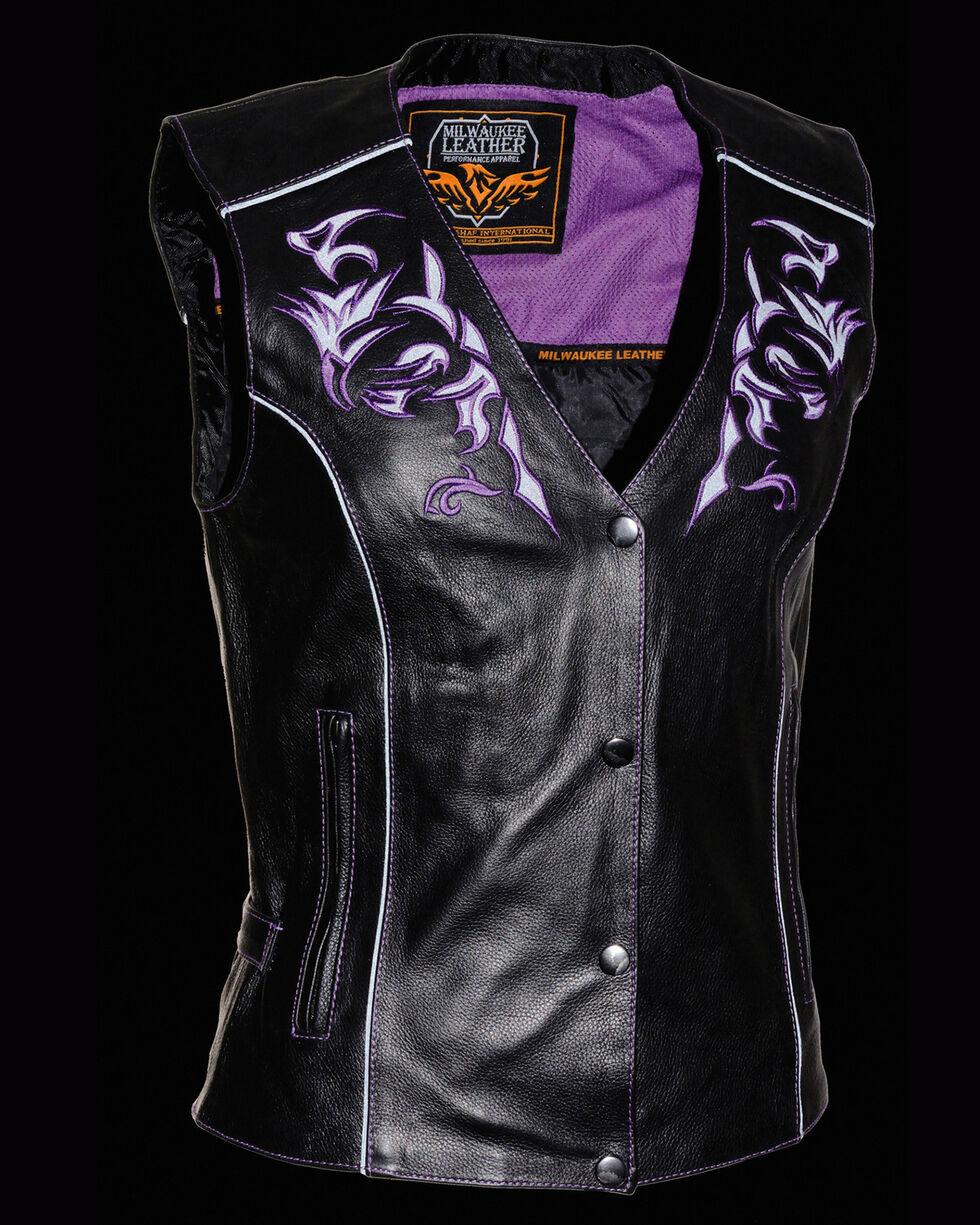 Milwaukee Leather Women's Reflective Tribal Design Vest - 5X, , hi-res