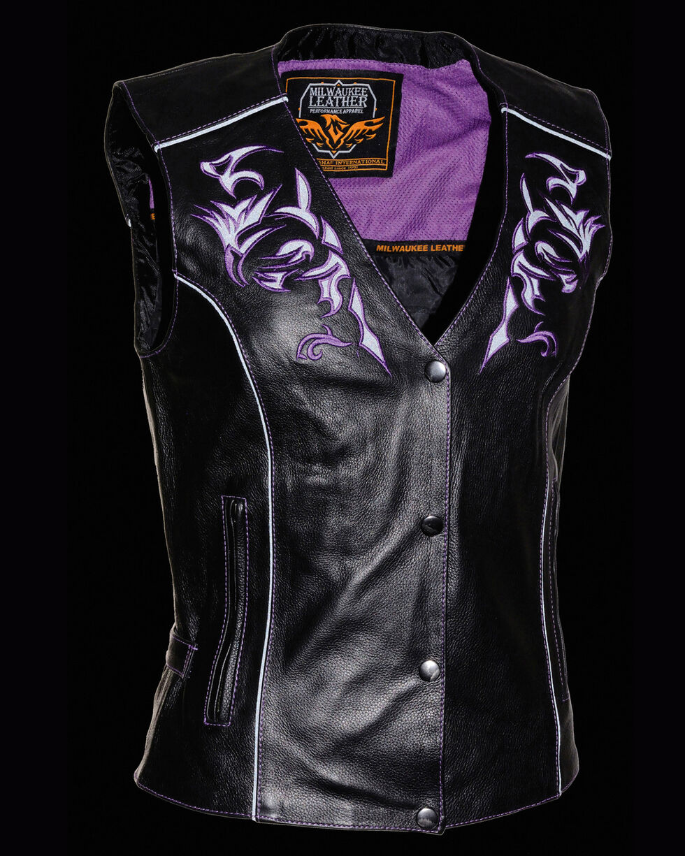 Milwaukee Leather Women's Reflective Tribal Design Vest, Black/purple, hi-res