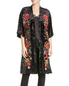 Miss Me Women's Floral Crushed Velvet Kimono, Black, hi-res