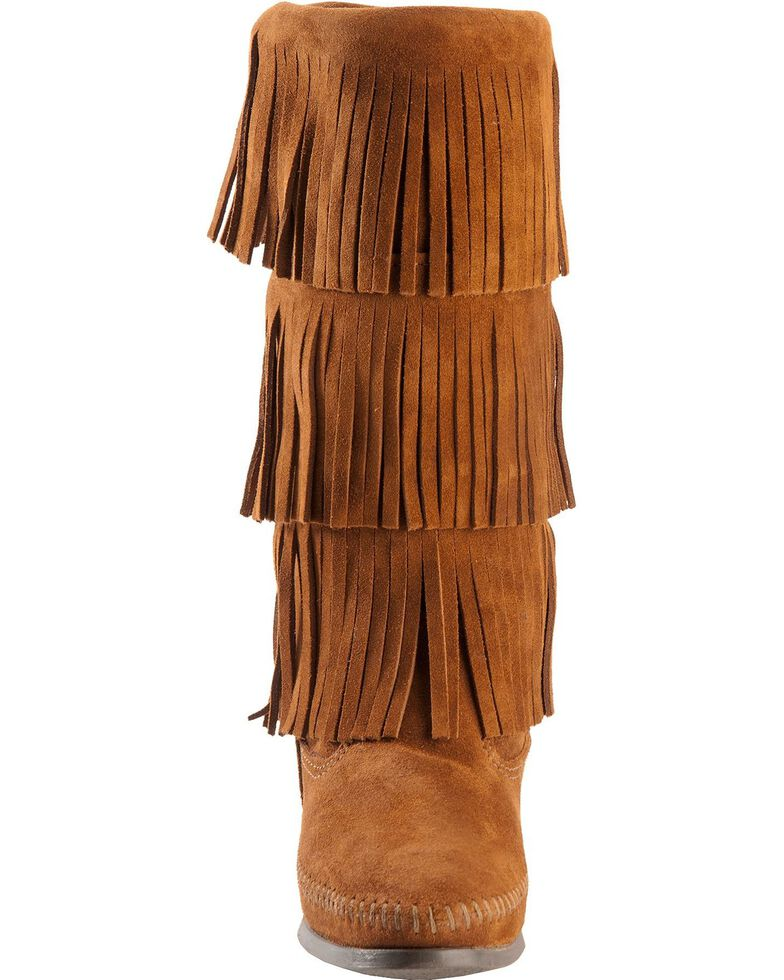 Minnetonka Tall Fringed Boots, Brown, hi-res