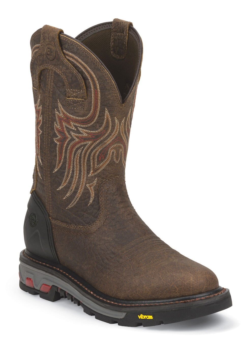 Justin Men's Pumpjack Mahogany Electrical Hazard Work Boots - Soft Toe, Mahogany, hi-res