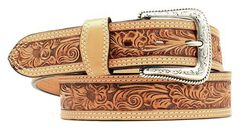 Nocona Floral Embossed Leather Belt, Natural, hi-res