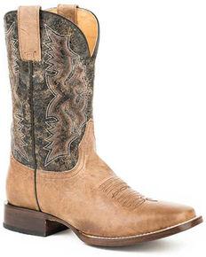 Roper Men's Dado Western Boots - Square Toe, Tan, hi-res