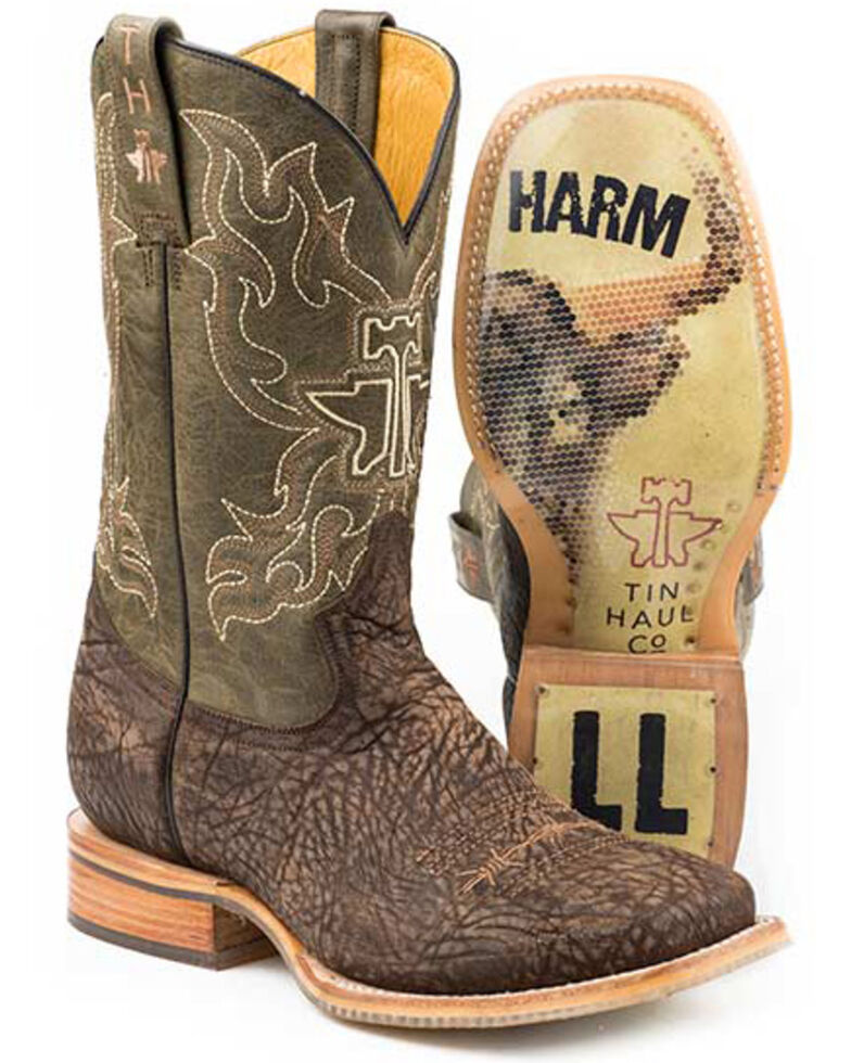 Tin Haul Take No Bull Western Boots - Wide Square Toe, Brown, hi-res