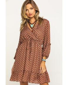 Stetson Women's Brown Lucky Star Print Dress , Brown, hi-res