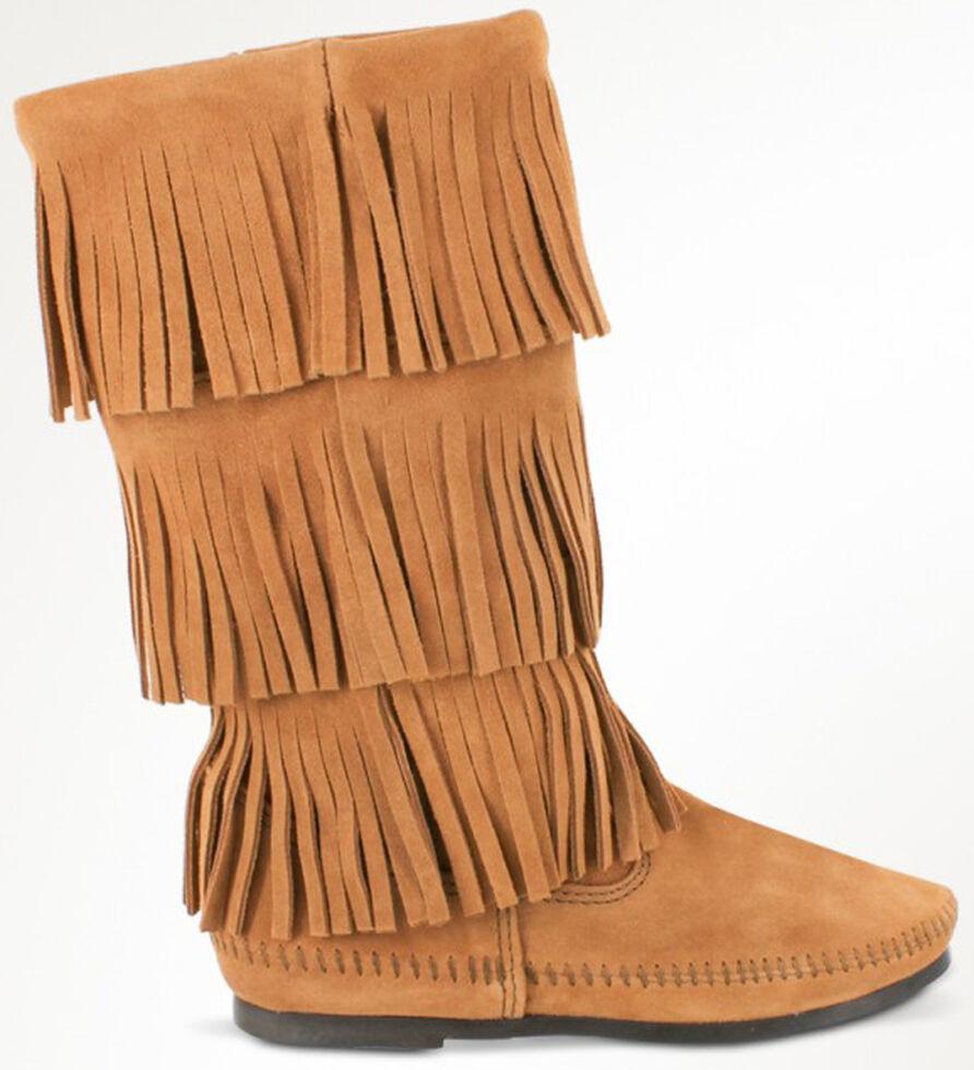 Minnetonka Women's Calf Hi 3-Layer Fringe Boots, Taupe, hi-res