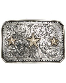 And West Sinagua Vintage Triple Star Buckle, Gold, hi-res