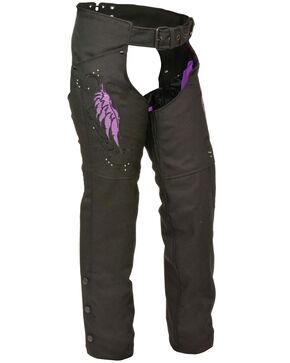 Milwaukee Leather Women's Textile Chap with Wing & Rivet Detailing - 3X, Black/purple, hi-res