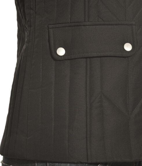 Jane Ashley Women's Black Zig Zag Snap Vest , Black, hi-res