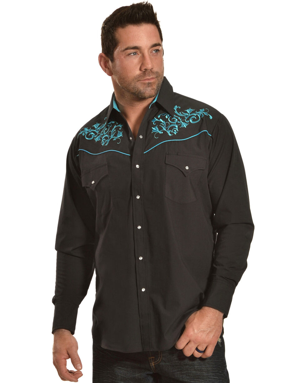 Ely Cattleman Men's Retro Black Embroidered Long Sleeve Western Snap Shirt, Multi, hi-res