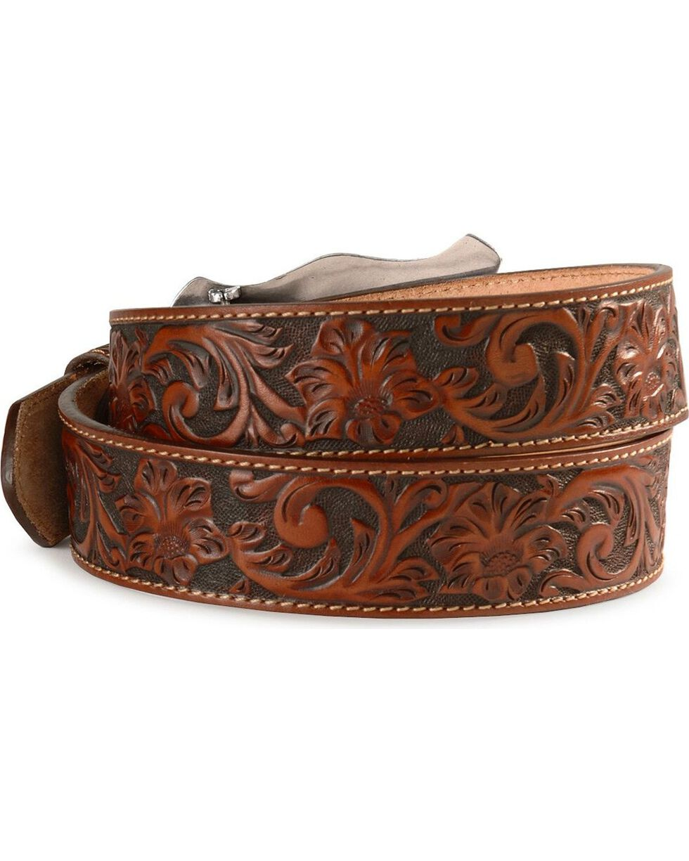 Justin Longhorn Buckle Leather Belt - Reg. & Big, Tan, hi-res