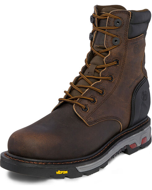 Justin 8 Inch Lace Up Commander X5 Work Boots - Composite Toe, Brown, hi-res
