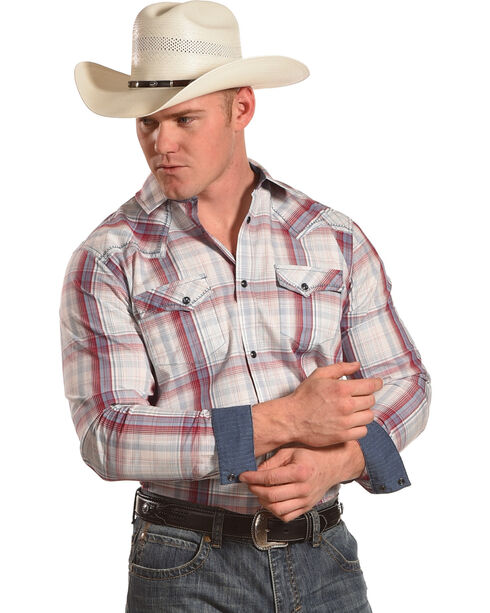 Cody James Men's Gold Nugget Plaid Western Shirt - Big & Tall, Red, hi-res