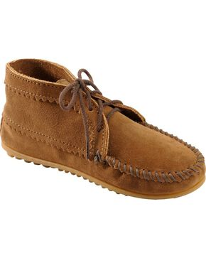 Women's Minnetonka Suede Ankle Moccasin Boots, Dusty Brn, hi-res