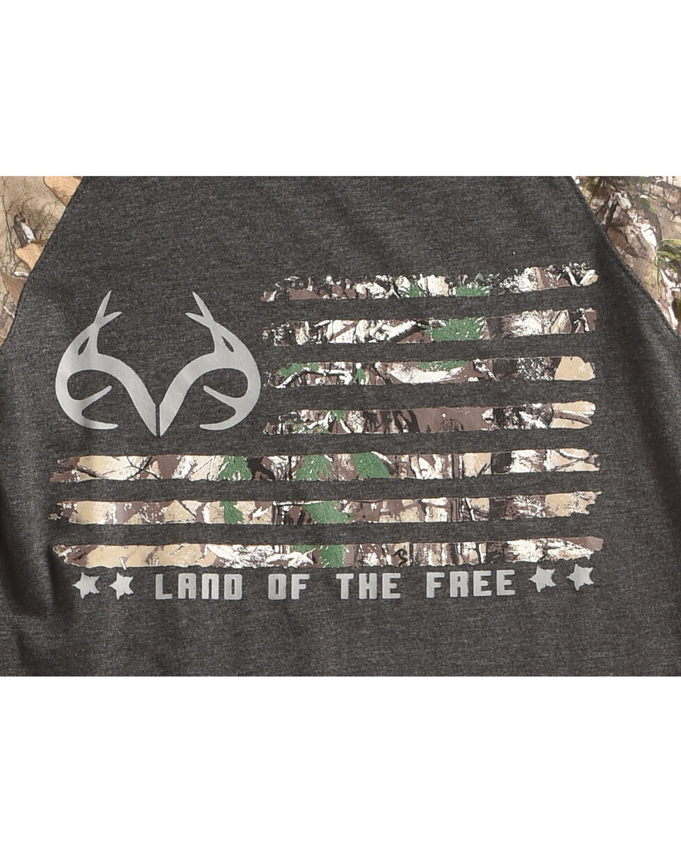 "Realtree Boys' Camo ""Land of the Free"" Long Sleeve T-Shirt , Black, hi-res"