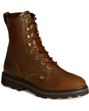"Justin Premium 8"" Lace-Up Work Boots - Round Toe, Tan, hi-res"