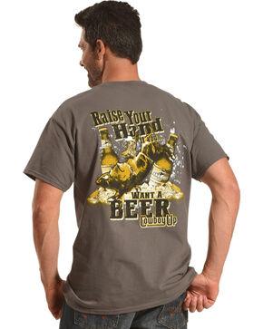 Cowboy Up Men's Charcoal Raise Your Hand T-Shirt , Charcoal, hi-res