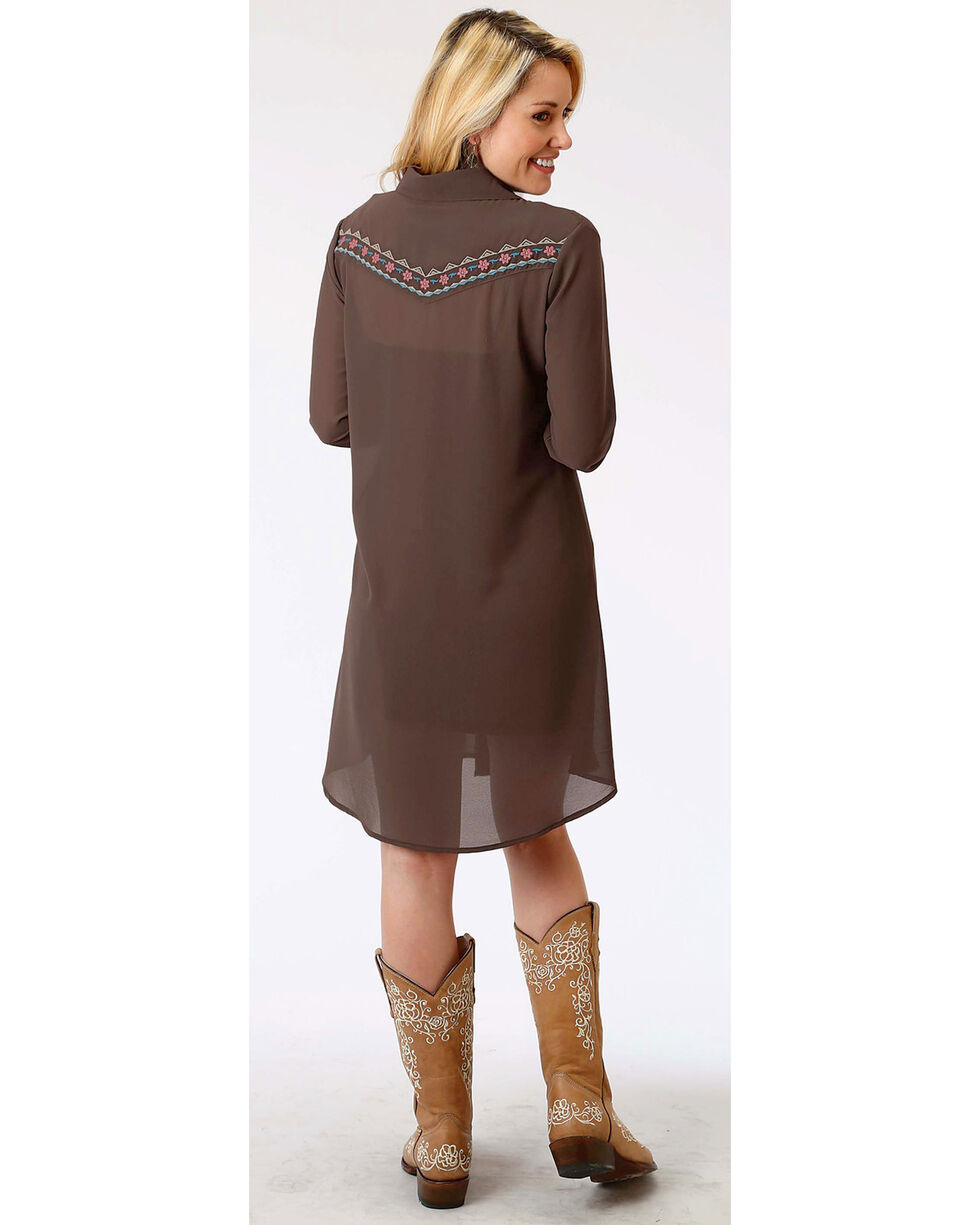 Roper Women's Long Sleeve Embroidered Front Button Down Dress, Brown, hi-res