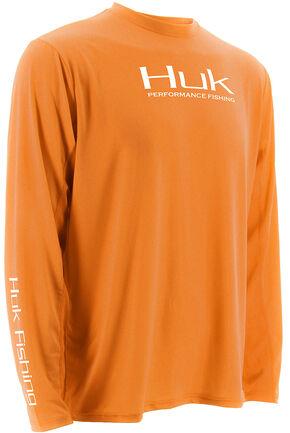 Huk Performance Fishing ICON Long Sleeve T-Shirt , Orange, hi-res