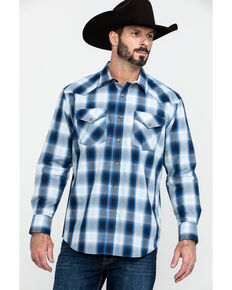 Pendleton Men's Frontier Long Sleeve Plaid Shirt , Blue, hi-res