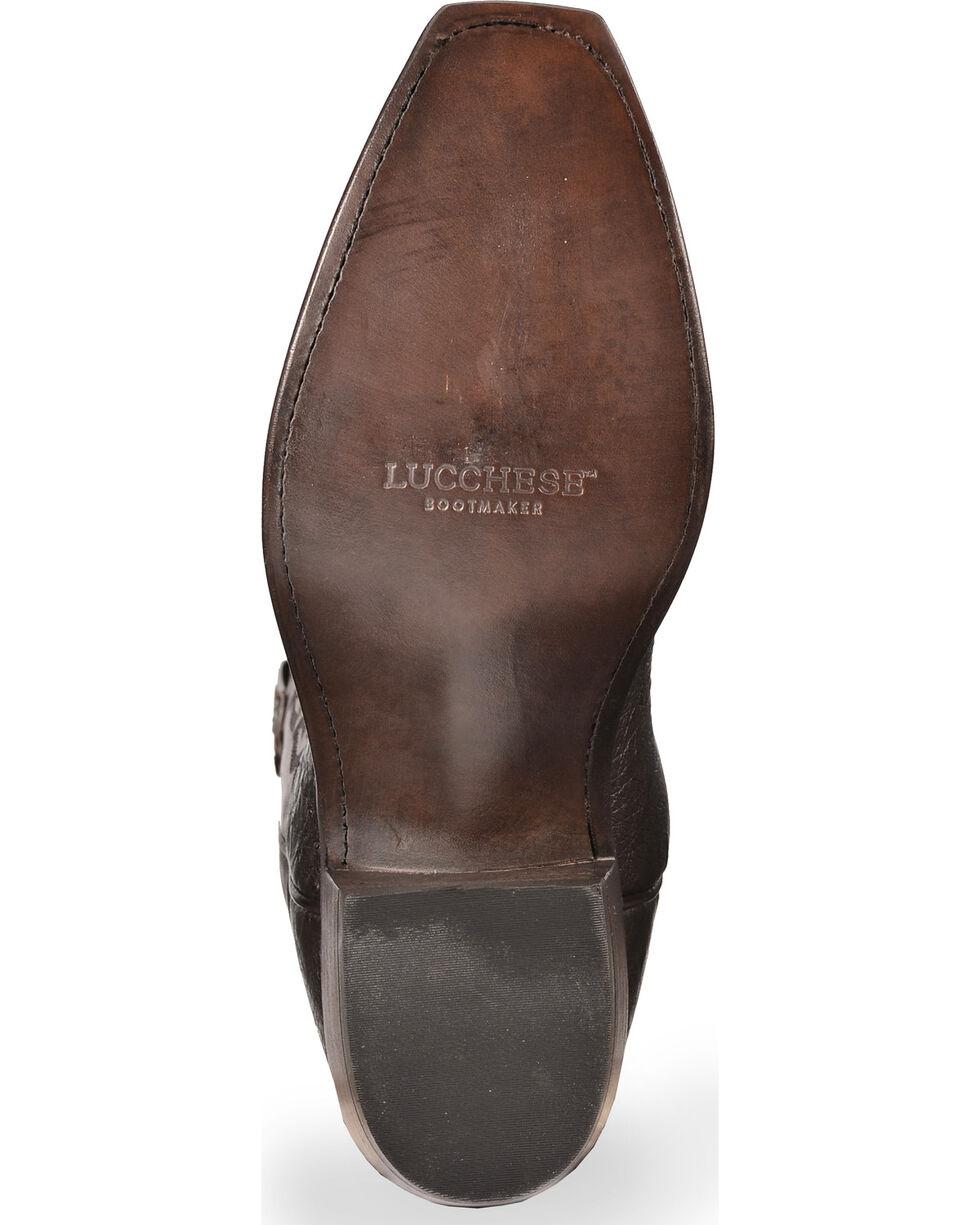 Lucchese Men's Handmade Dark Brown Nathan Smooth Ostrich Boots - Snip Toe, Dark Brown, hi-res