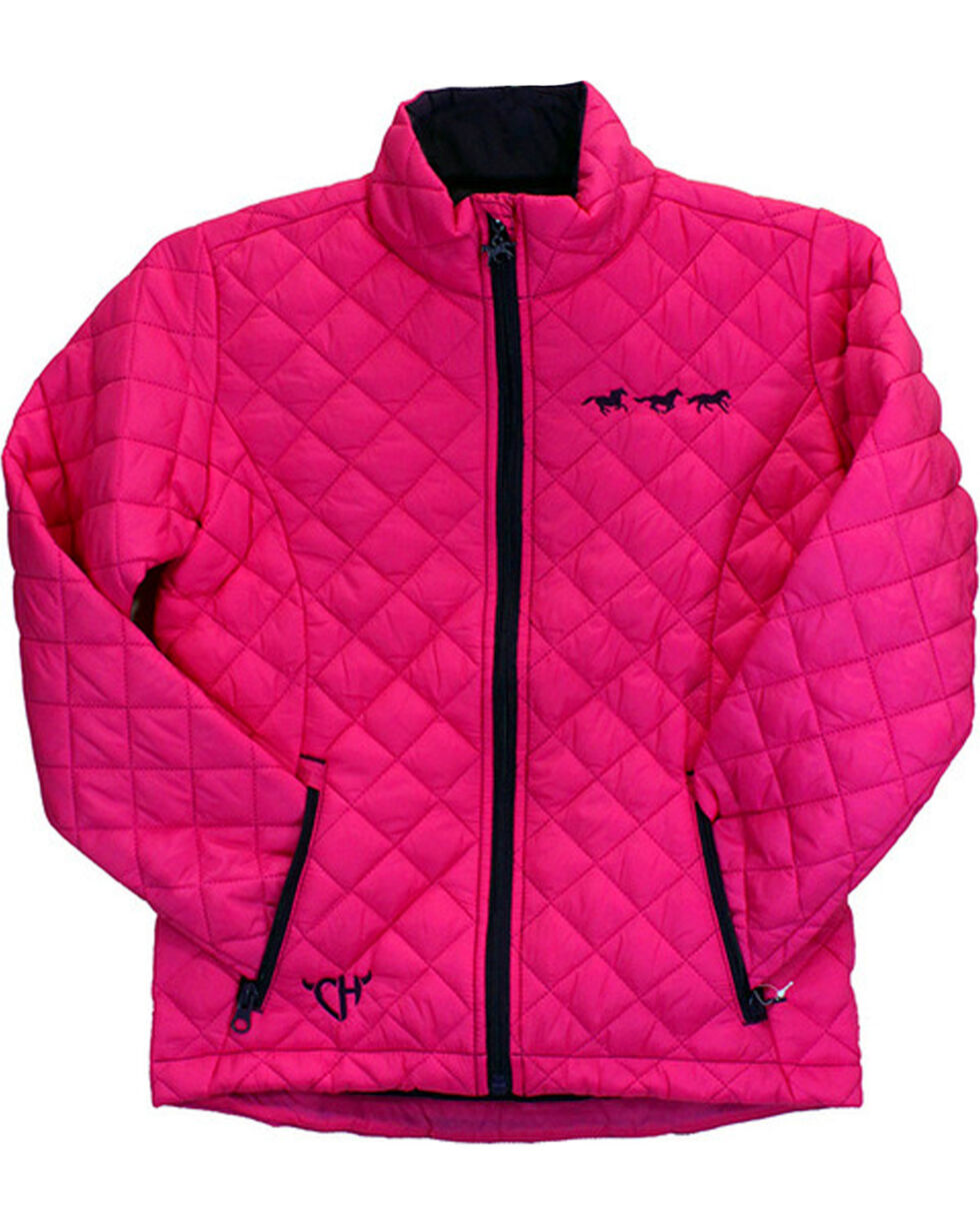 Cowgirl Hardware Toddler Girls' Running Horses Quilted Jacket, Pink, hi-res