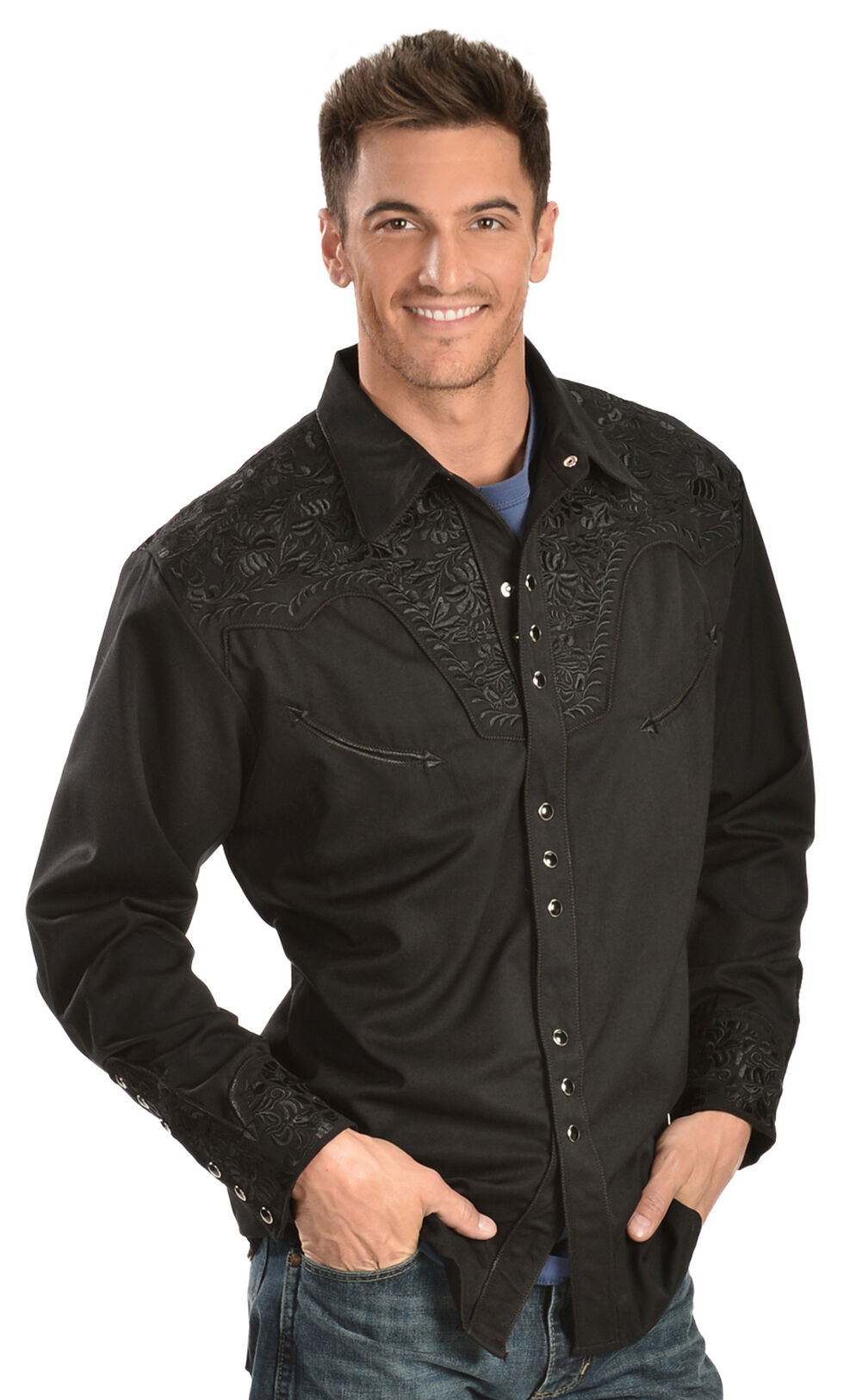 Scully Floral Embroidery Black Retro Western Shirt - Big & Tall, , hi-res