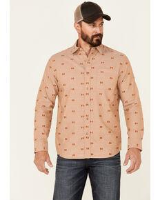 Pendleton Men's Tan Aztec Dobby Chambray Long Sleeve Button-Down Western Shirt , Tan, hi-res
