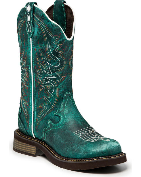 Justin Women's Gypsy Western Boots - Round Toe , Green, hi-res