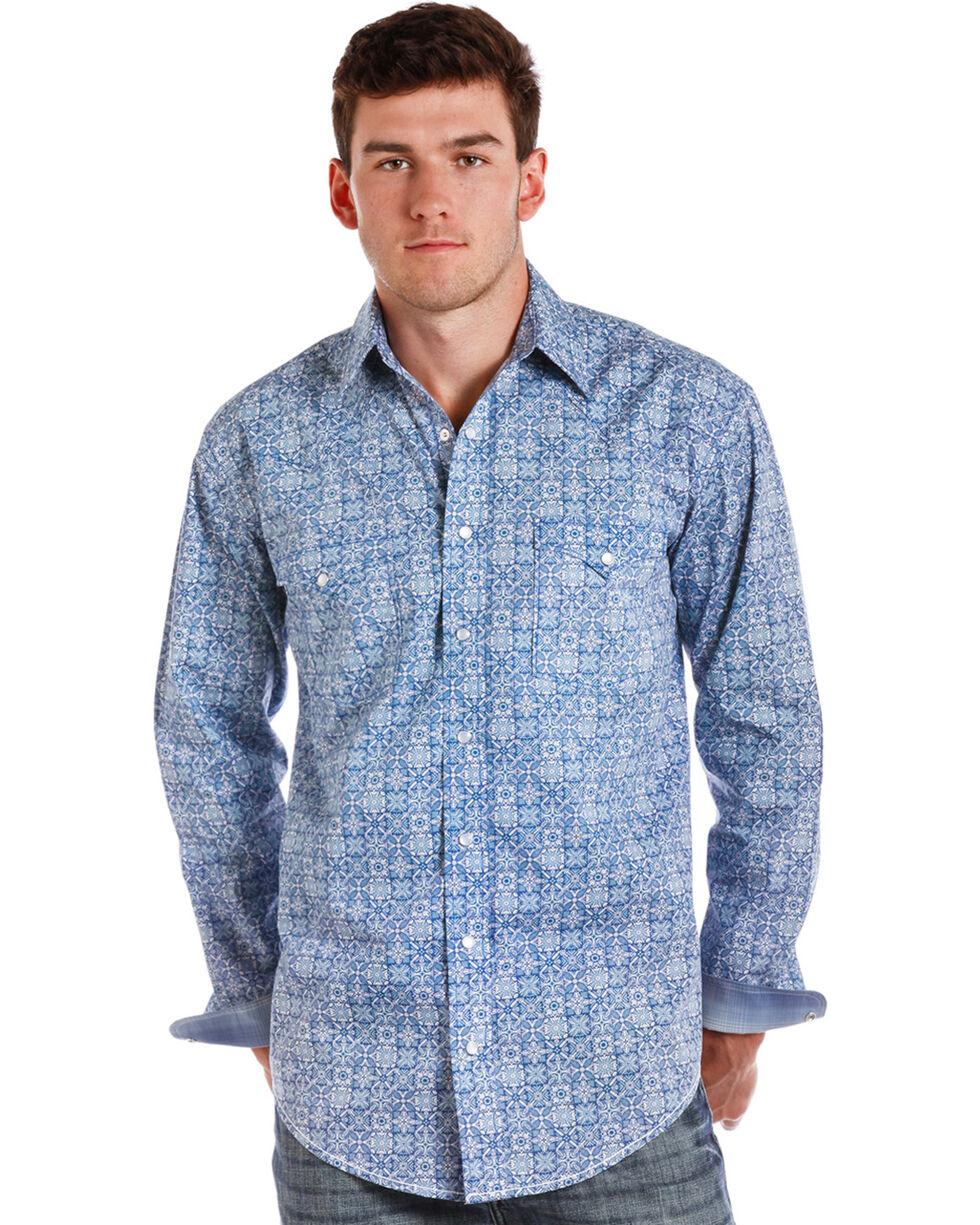 Rough Stock by Panhandle Men's Loretto Vintage Print Western Shirt, Blue, hi-res