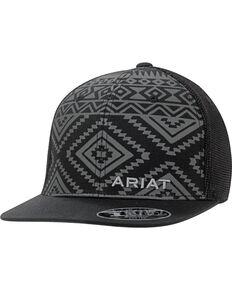 Ariat Men's Tonal Black Aztec Cap, Black, hi-res