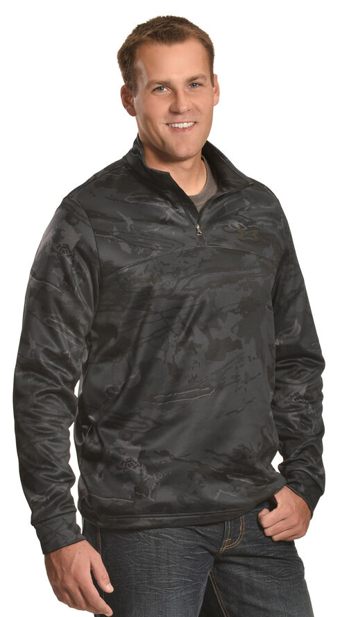 Under Armour Men's Franchise Camo 1/4 Zip Fleece Pullover , Black, hi-res