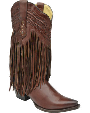 Corral Chocolate Brown Fringe and Whip Stitch Cowgirl Boots - Snip Toe , Chocolate, hi-res