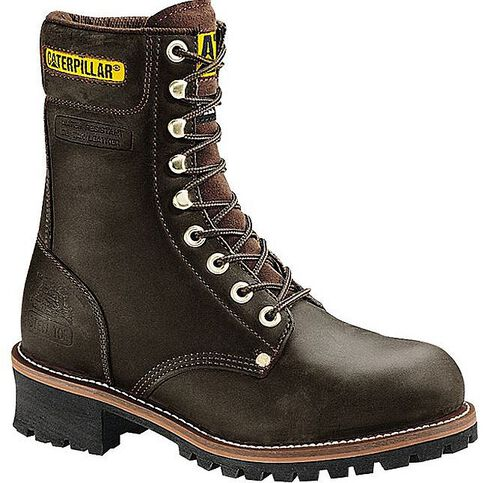 Caterpillar Black Logger Boots - Steel Toe, Black, hi-res