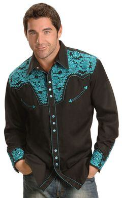 Scully Turquoise Embroidery Retro Western Shirt - Big & Tall, Black, hi-res