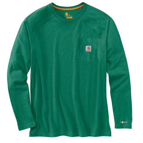 Carhartt Force Long Sleeve Work Shirt - Big & Tall, Green, hi-res