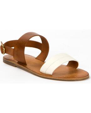 Frye Women's White Ally 2 Band Sling Sandals , White, hi-res