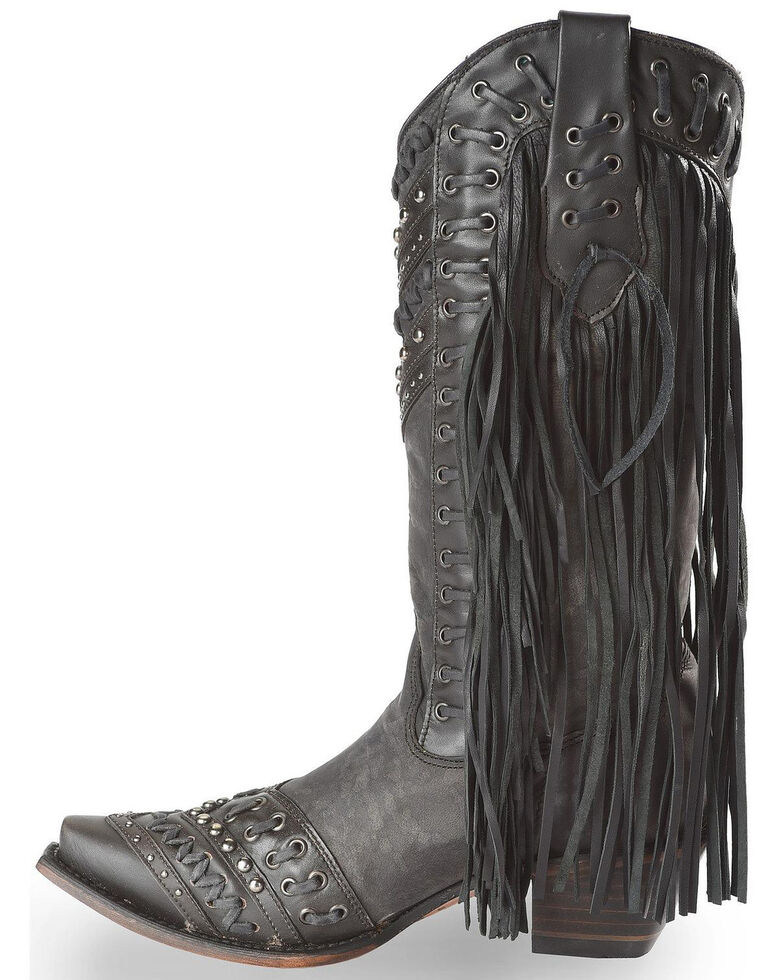 Corral Studded Side Fringe Cowgirl Boots - Snip Toe, Black, hi-res